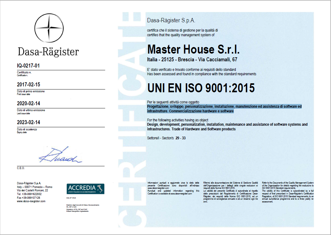 master house certificazione iso 9001 2015